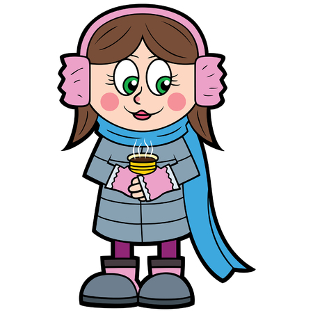 Illustration a girl in a flat cartoon style with a cup of coffee, cocoa or hot chocolate. Illustration