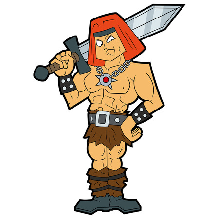Illustration stereotypic muscular barbarian warrior with a sword in his hands