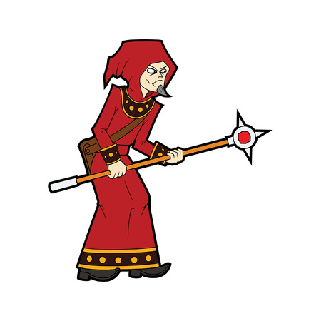Illustration cartoon wizard man with a magic staff