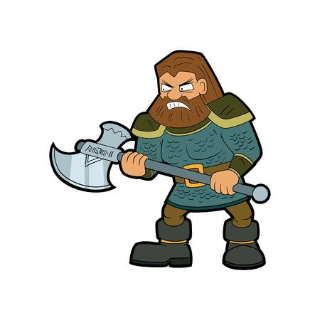 Illustration cartoon classical fantasy dwarf warrior with an ax Ilustração