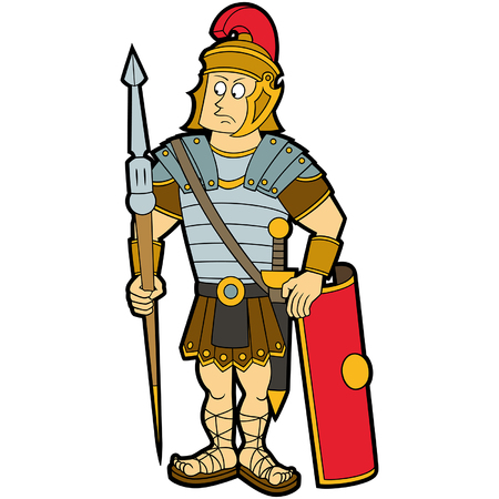 Illustration of roman legionary soldier with a shield, a gladius, and a lance