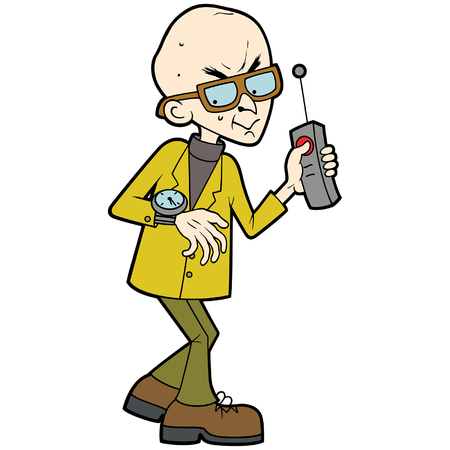Illustration cartoon evil professor, looking at his watch, keeping his finger on the remote controller button. Illustration
