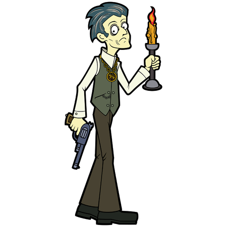 Illustration an occult investigator with a candle and a revolver, frightened and cautious, his hair turned white from fear