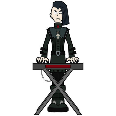 Illustration music band cartoon character in goth subculture outfit