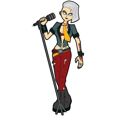 Illustration music band cartoon character in goth subculture outfit. Illustration