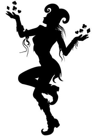 Illustration dancing joker woman. She is juggling with card suits