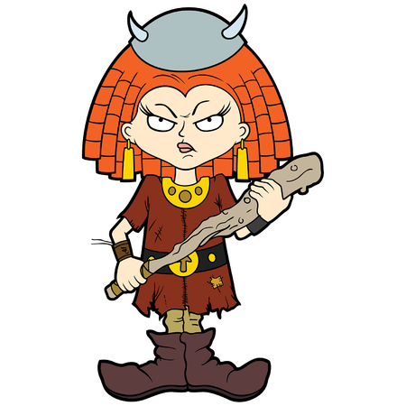 Illustration cartoon small girl in a horned helmet with a club