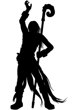 Illustration silhouette a wizard with a magic staff, casting spells