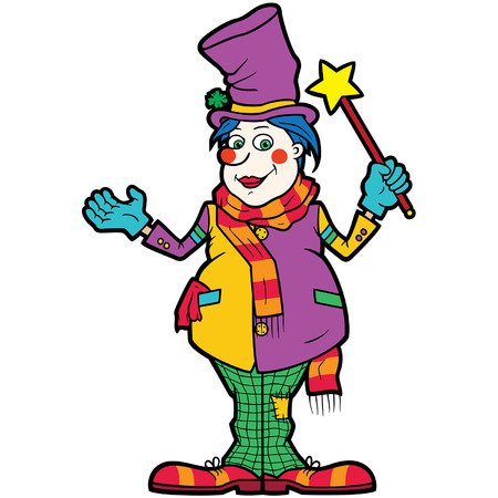 Illustration cartoon funny man with a magic wand disguised in top hat and clown clothes Vectores