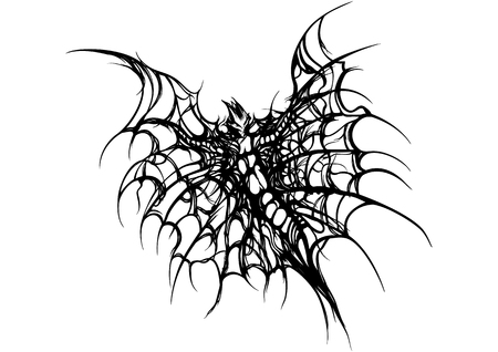 Illustration black&white fantasy insect or a bat with wings like a spider web Stock Photo