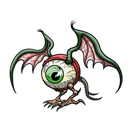 Illustration a big eye creature with wings, legs and a tail