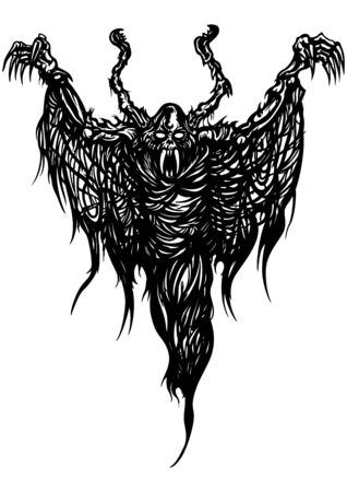 Illustration black&white ghost monster with ragged wings like a spider web Zdjęcie Seryjne