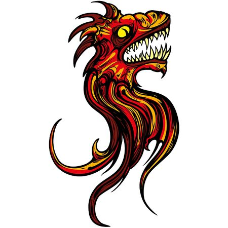 Illustration fantasy sign of roaring dragon head Ilustracja