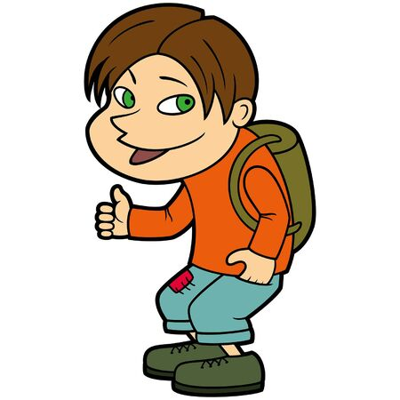 Illustration a smiling teen traveling with a backpack hitchhiking