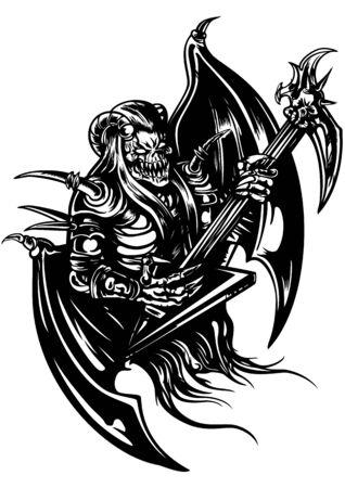 Black&white illustration a horned demon with brutal electro guitar