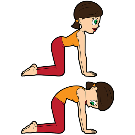 Illustration cartoon girl doing marjaryasana-bitilasana poses Иллюстрация