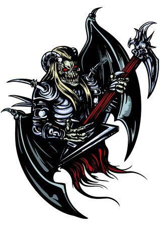 Illustration a horned demon with brutal electric guitar