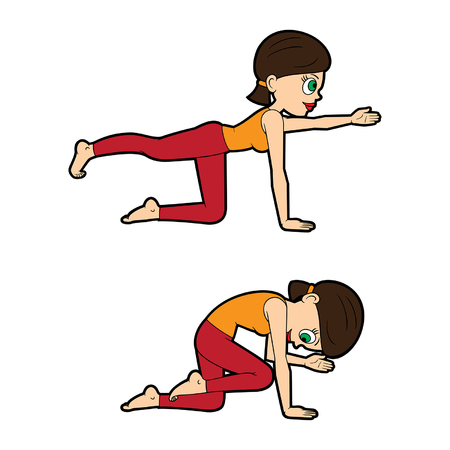 Chica de dibujos animados de ilustración haciendo marjaryasana-bitilasana posa con extensión de pierna