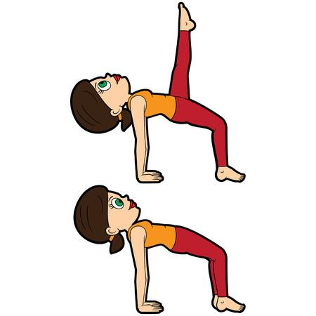 Illustration cartoon girl doing ardha purvottanasana and variation with leg extension