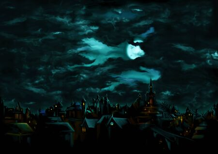 Illustration a fantasy town night scape with lights, sky with the moon and clouds on the background Zdjęcie Seryjne