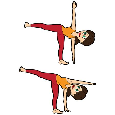 Illustration cartoon girl doing ardha chandrasana and its variation