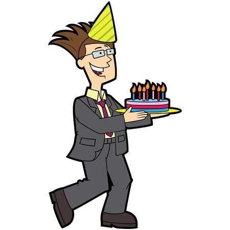 Illustration cartoon cheerful father bearing cake with candles Ilustracja