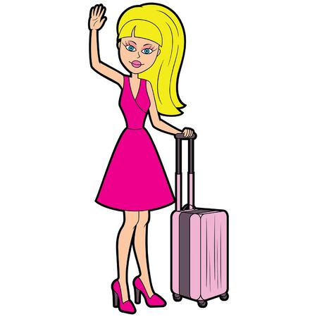 Illustration a young woman with a suitcase, waving a hand, greeting someone Foto de archivo - 133566936