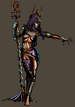 Illustration a fantasy woman in an ancient egyptian costume. She holds an ankh-staff with a snake