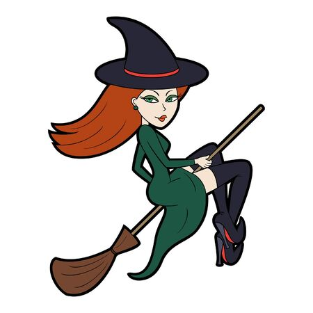 Illustration cartoon witch in magic hat flying a broomstick