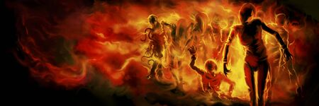 Illustration a crowd of zombies in fire