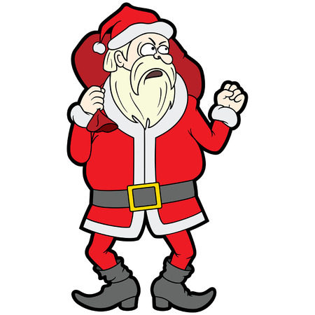 Illustration angry Santa Claus with a gift bag waving his fist