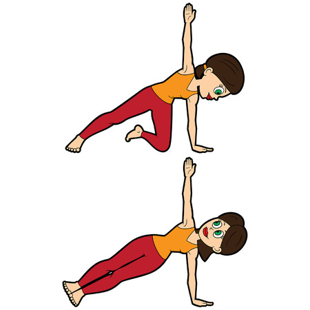 Illustration cartoon girl doing vasisthasana variations