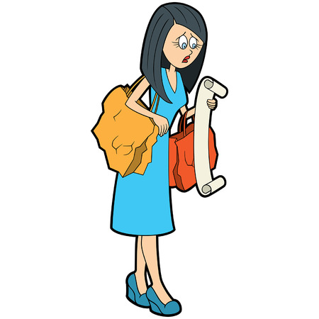 Illustration a concerned woman with bags looking at a shopping list Ilustracja