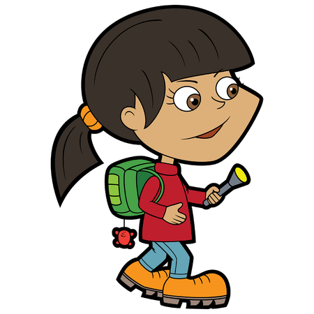Illustration cartoon little girl dressed as a traveller with a backpack and a flashlight