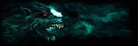 Illustration horror background with a roaring werewolf and the moon in the night sky Stock Photo