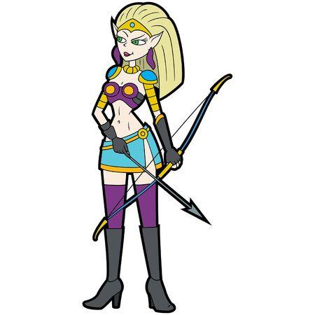 Illustration cartoon fantasy elf girl warrior with a bow and arrow Stock Illustratie