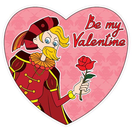 Illustration cartoon Shakespeares hero Romeo with a rose into  a heart. Be my Valentine text by my own design Stockfoto