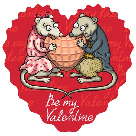 Valentine heart emblem with two cartoon mice in victorian outfit eating a gingerbread. Be my Valentine text by my own design