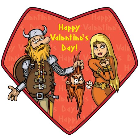 Illustration cartoon viking and a girl placed into a heart. He holds a head with a flower as a gift. Happy Valentines Day text by my own design