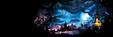 Background with a fable old town with lights and a frame with branches
