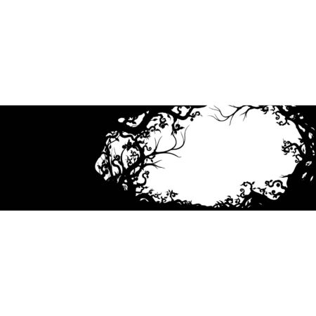 Horizontal banner frame with silhouettes of branches, roots, leaves, fruits