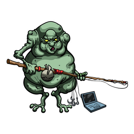 Illustration cartoon ugly troll fisherman with a fishing rod and a laptop on the hook