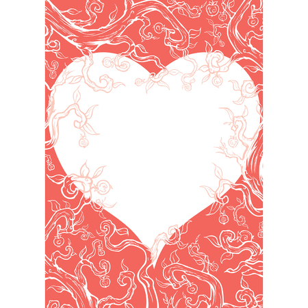 Illustration valentine frame with copy space heart shape consists of branches, leaves, fruits