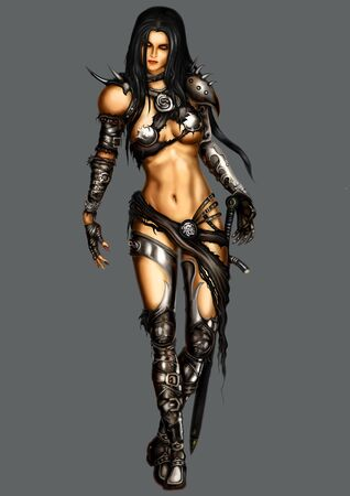 Illustration menacing and seductive warrior woman in black armor with a sword