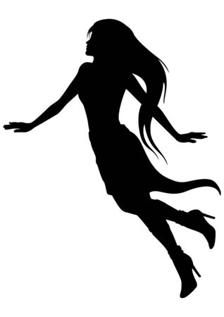 Illustration silhouette of romantic soaring woman with long hairs Stockfoto