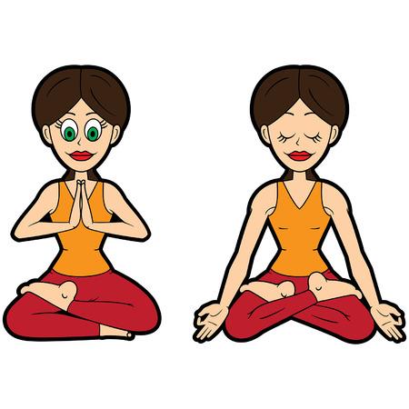 Illustration cartoon girl doing ardha padmasana and padmasana
