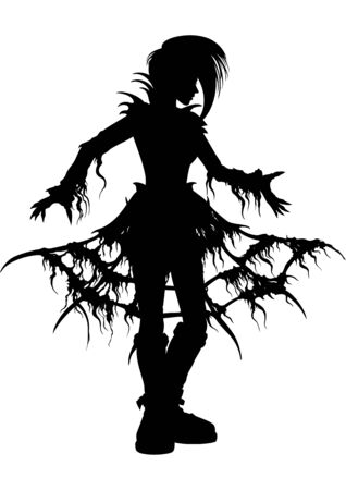 Girl silhouette in extreme ragged outfit with hoops skirt
