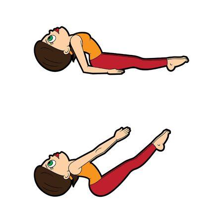 Illustration cartoon girl doing matsyasana variations