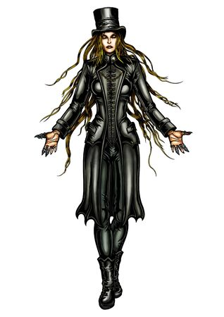 Illustraton sinister woman in a fantasy victorian outfit. She is stretching hands forward. Comics style