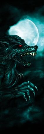 Illustration horror background with a roaring werewolf and the moon in the night sky Stockfoto